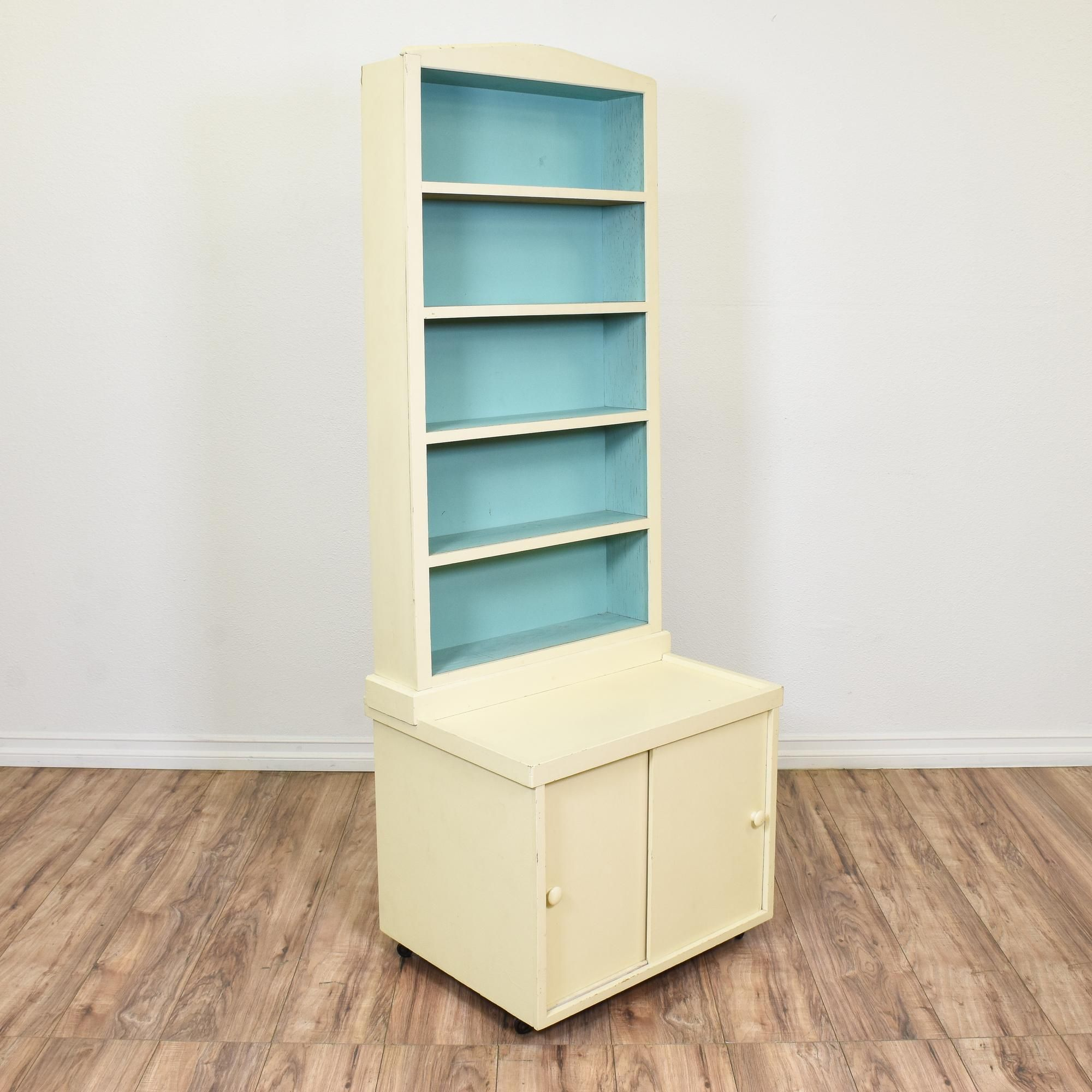 This Cottage Chic Bookcase Is Featured In A Solid Wood With An Off White Paint Finish And Light Blue Interior This Tall B White Bookcase Bookcase Cottage Chic