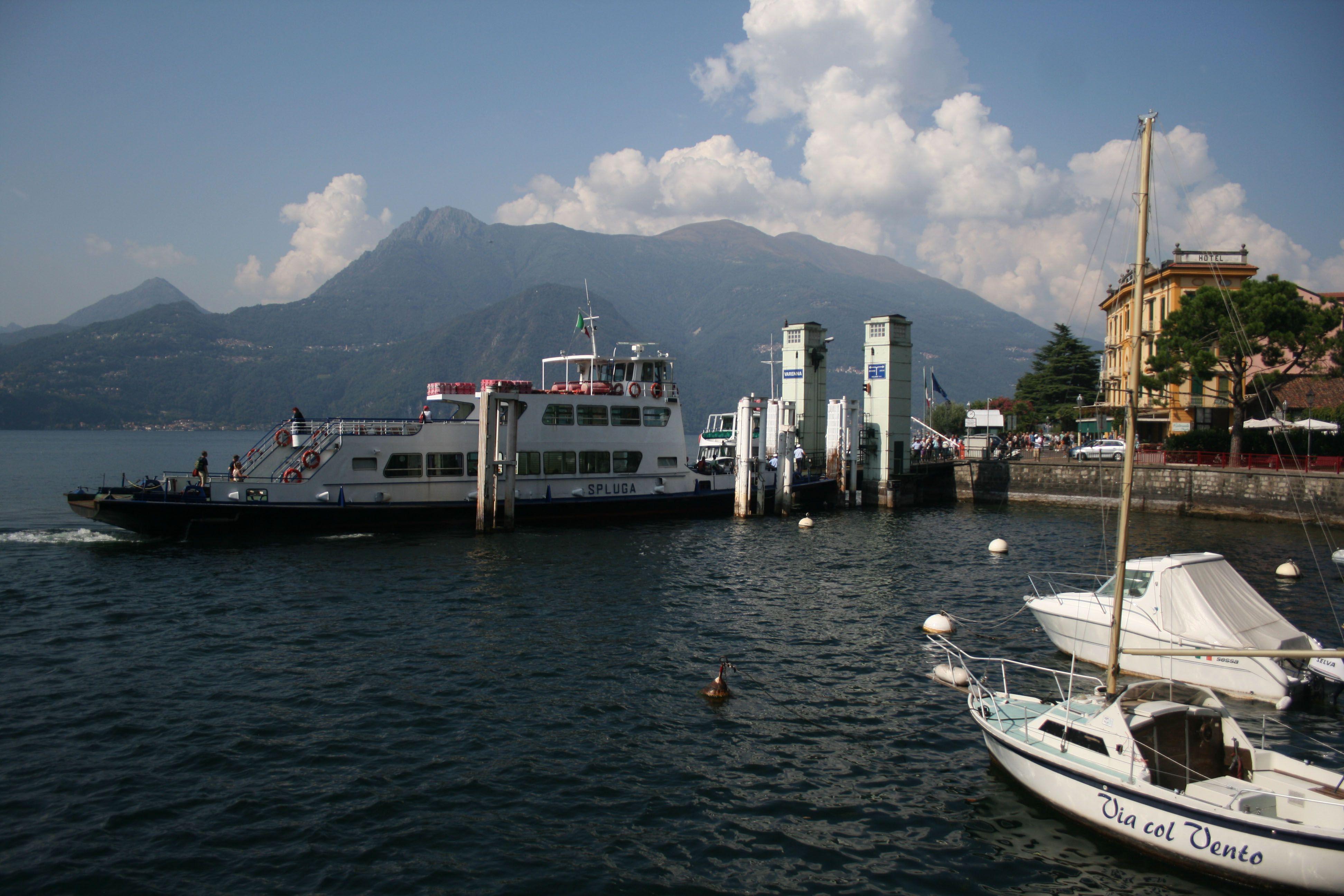Disembarking From Car Ferry Spluga At Varenna On Lake Como