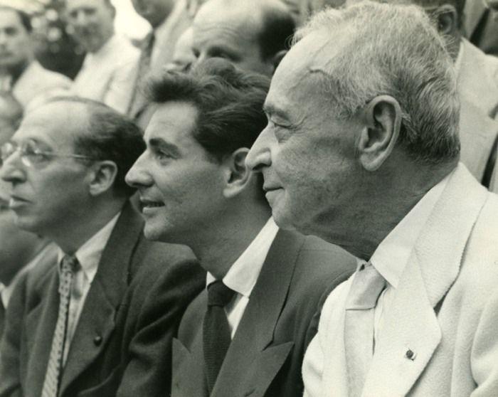 Aaron Copland, Leonard Bernstein and Serge Koussevitzky at Tanglewood — Ruth Orkin (1940)
