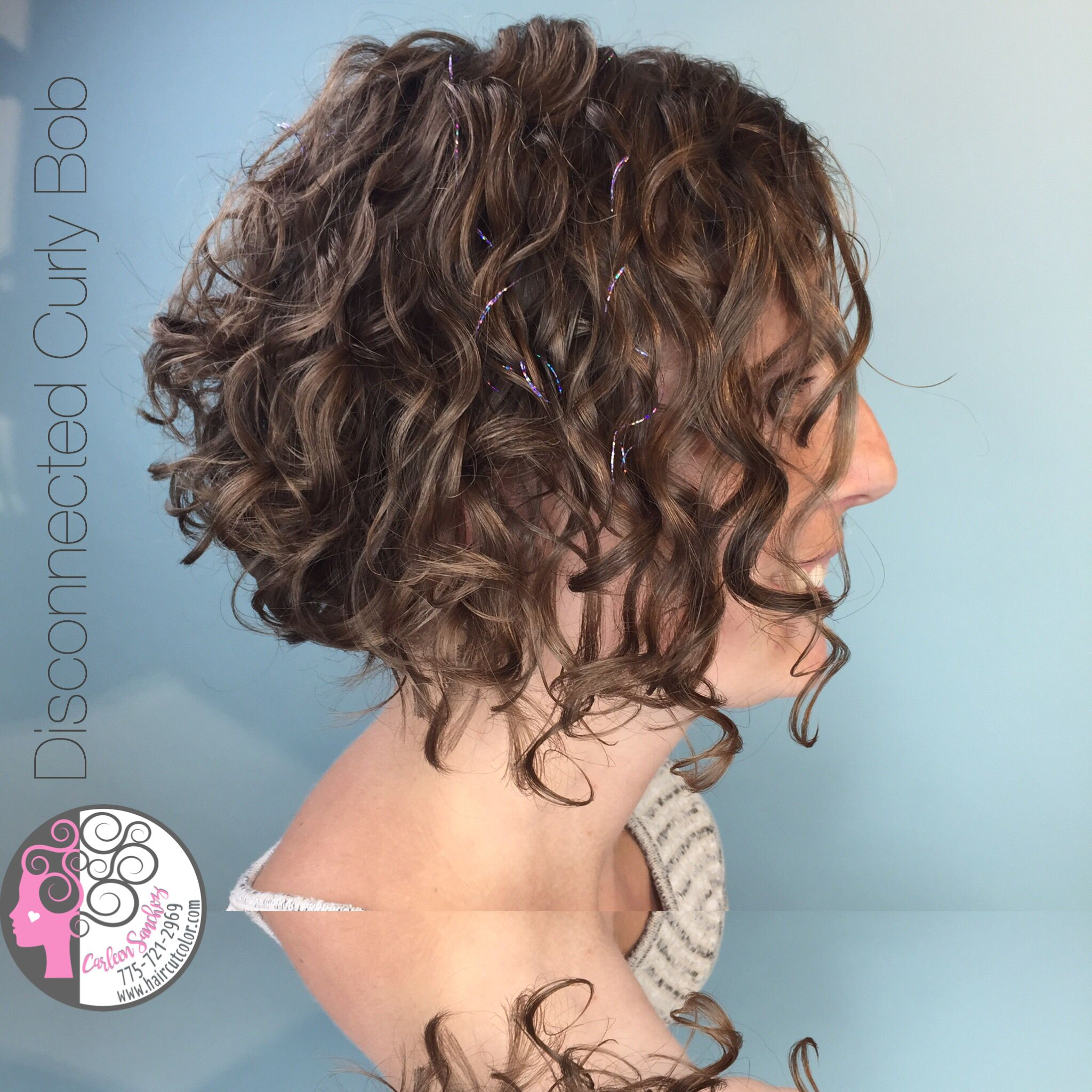 Short Bob naturally curly hair by Carleen Sanchez Nevada's Curl Expert www.haircutcolor.com 775.721.2969
