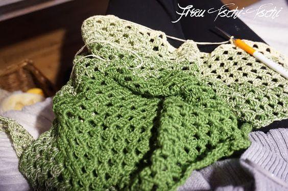 Dreiecktuch häkeln Anleitung kostenlos Crochet Pattern free diagonal ...
