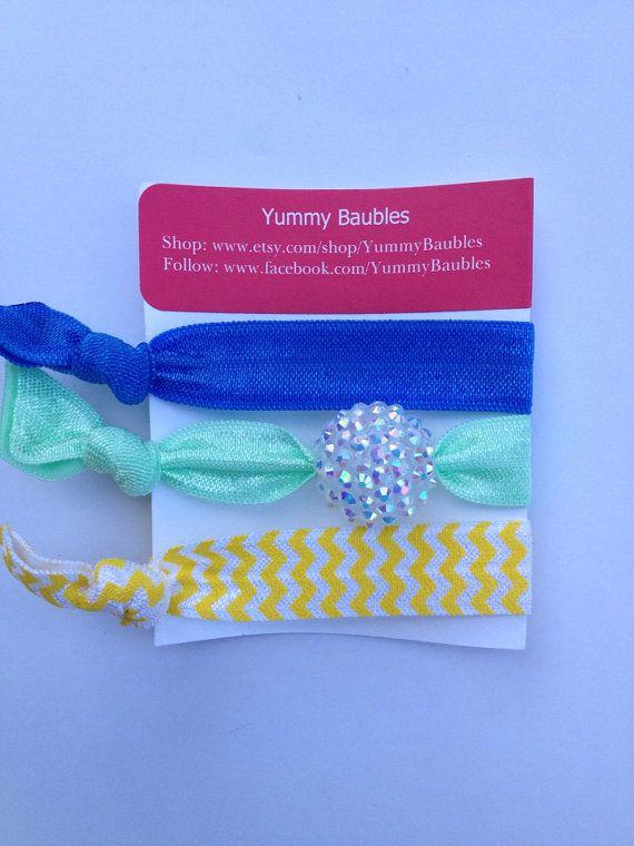 Elastic Hair Ties, Bubblegum Hair Accessories, FOE, No Crease Ponytail Holder, Gumball Bracelets on Etsy, $4.25