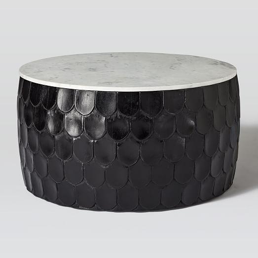 Marble Scaled Wood Drum Coffee Table Westelm