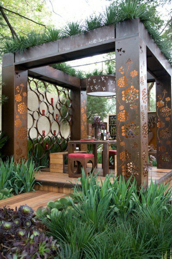 Glas Pergola Markise Grün Überdachte Terrasse Modern Holz