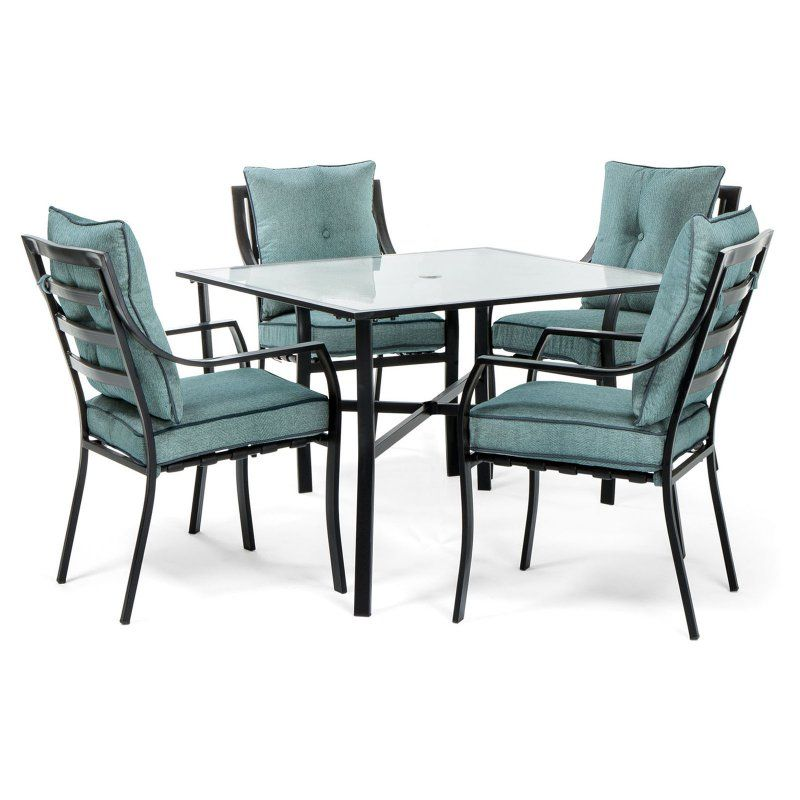 Outdoor Hanover Lavallette Steel 5 Piece Square Patio Dining Set Ocean Blue - LAVDN5PC-BLU