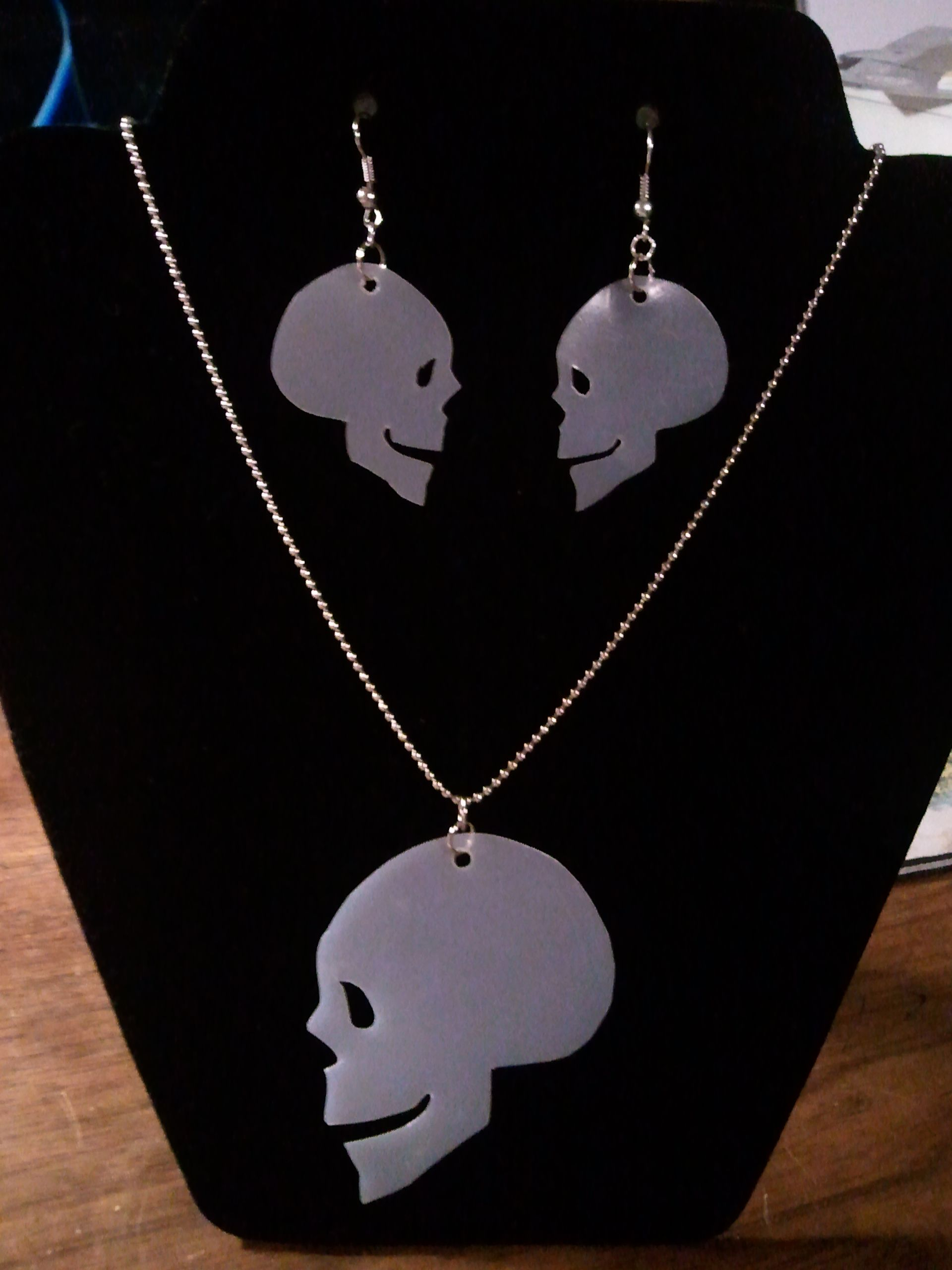 More milk jug halloween jewelry a skull necklace and earring set