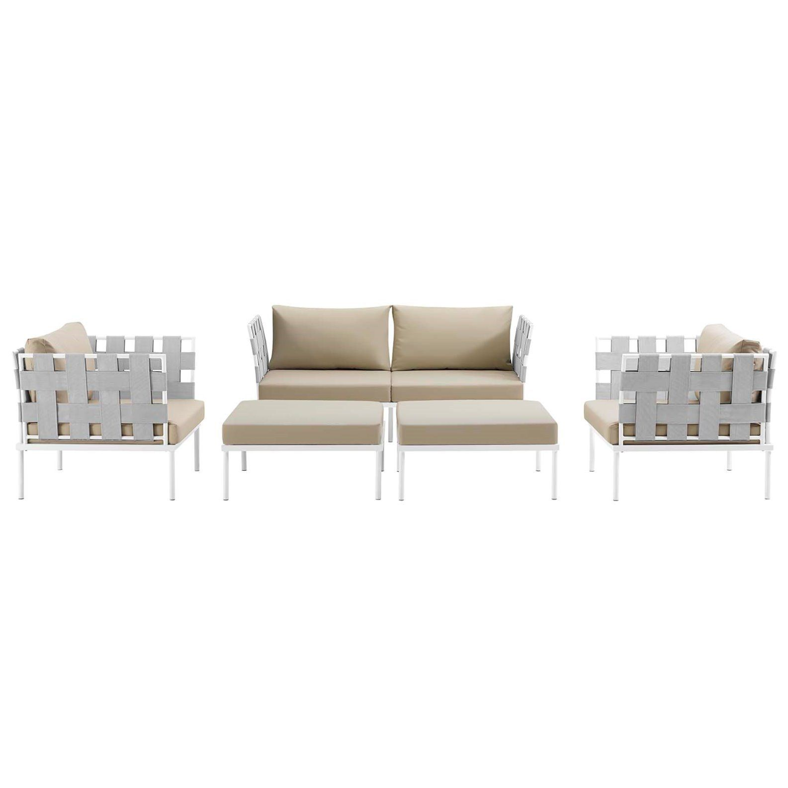 Modern Contemporary Urban Outdoor Patio Balcony Five Pcs Sectional Sofa Set Beige White Rattan With Images Modern Furniture Sets Patio Furniture Dining Set Seating Groups