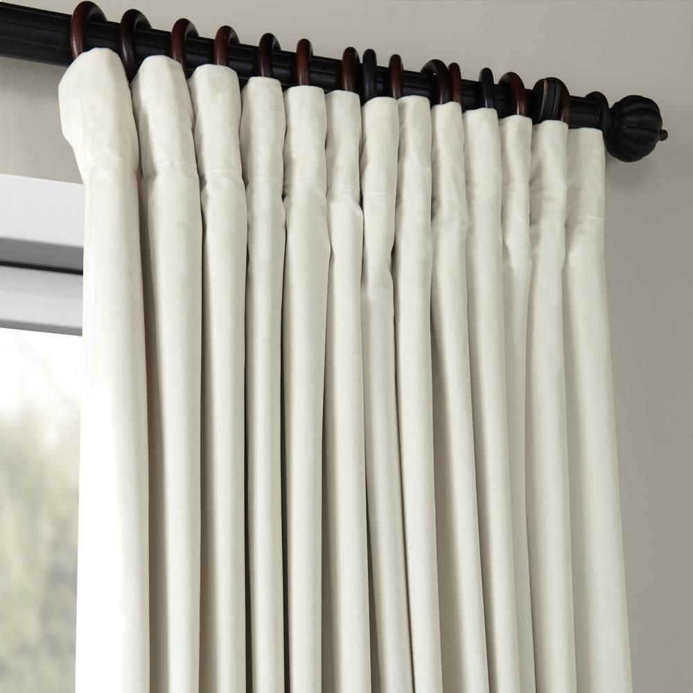 Exclusive Fabrics Furnishings Off White Velvet Rod Pocket Blackout Curtain 100 In W X 120 In L Vpch Vet1219 120 The Home Depot Extra Wide Curtains Velvet Curtains Half Price Drapes