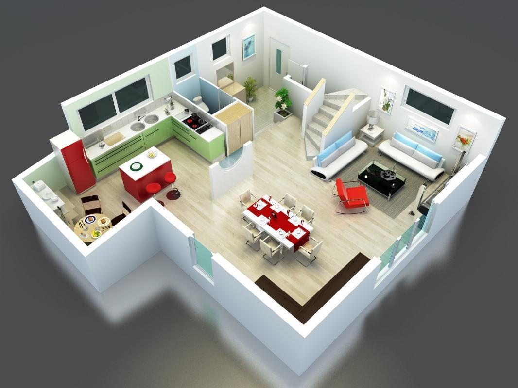 Plan maison bel tage en 3d mod le kea cuisine ouverte for Exemple de plan de maison