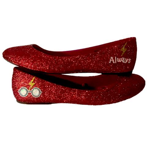 Women S Sparkly Burgundy Glitter Ballet Flats Bride Wedding Shoes