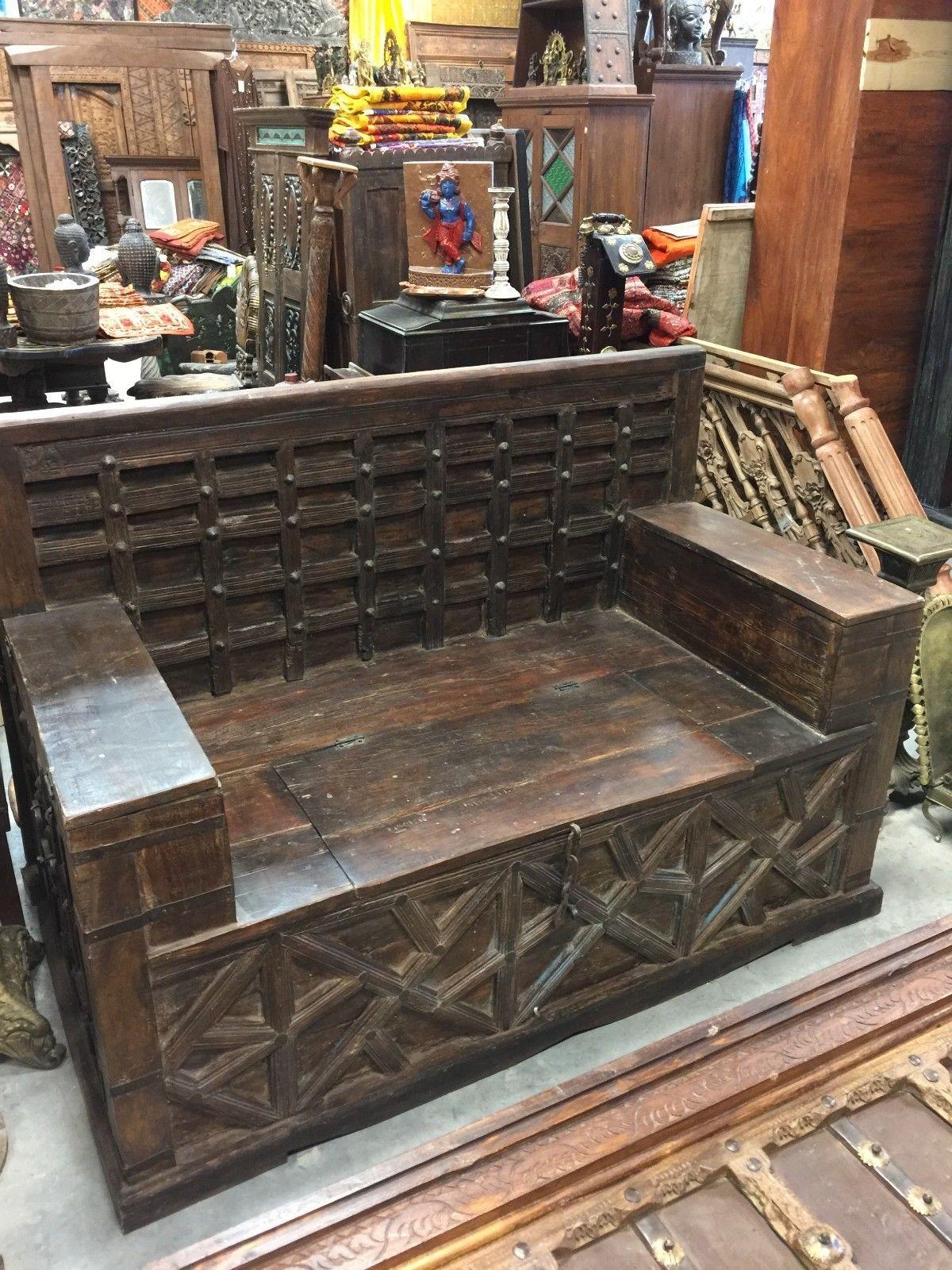 Antique Diwan Indian Bench Teak Sofa Hand Carved Iron Patina Squares Storage