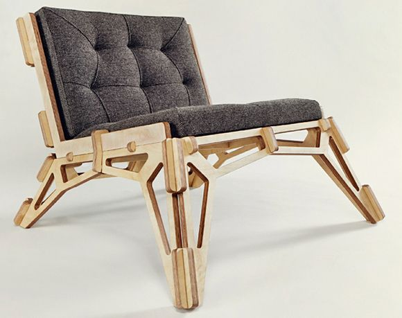 cnc (cut out entirely by computer control) lounge chair... made from plywood- nice!