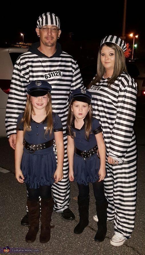 Jailbird and cops family Halloween costume Halloween