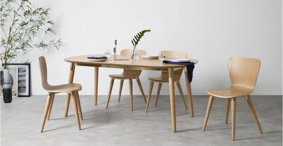 Edelweiss Extending Dining Table Ash And Brass From Madecom Light - Light wood extending dining table