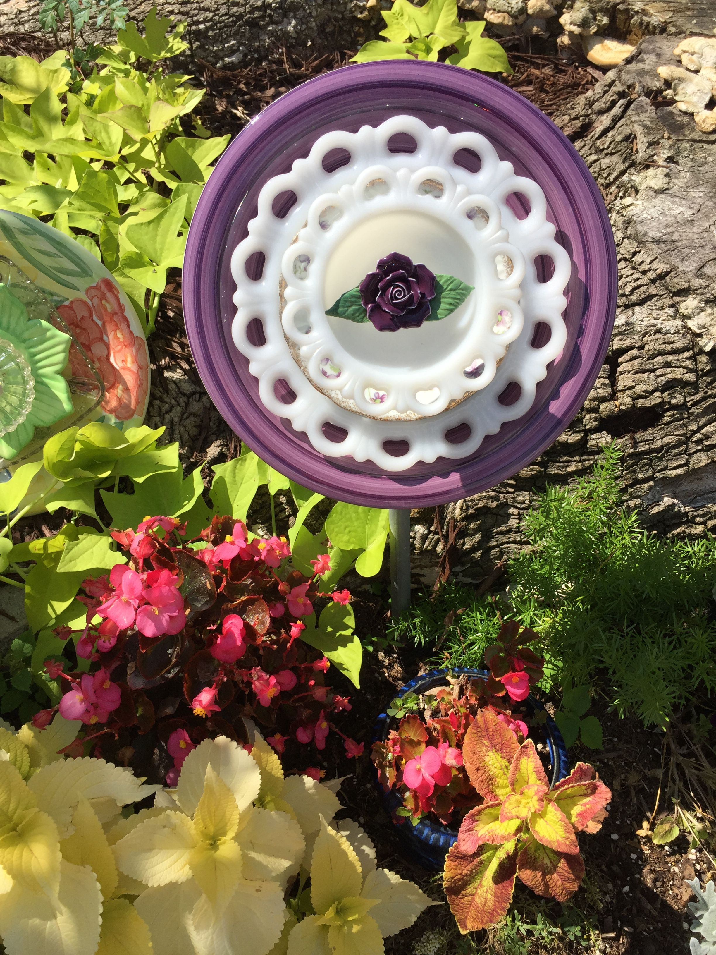 Another Purple And White Flower Using Milk Glass And A Purple Center