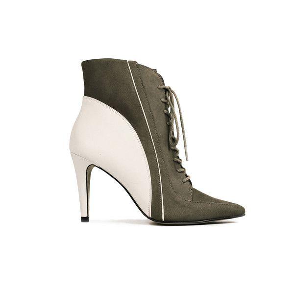 Luisa cream/olive #messecanyc #laceup #bootie
