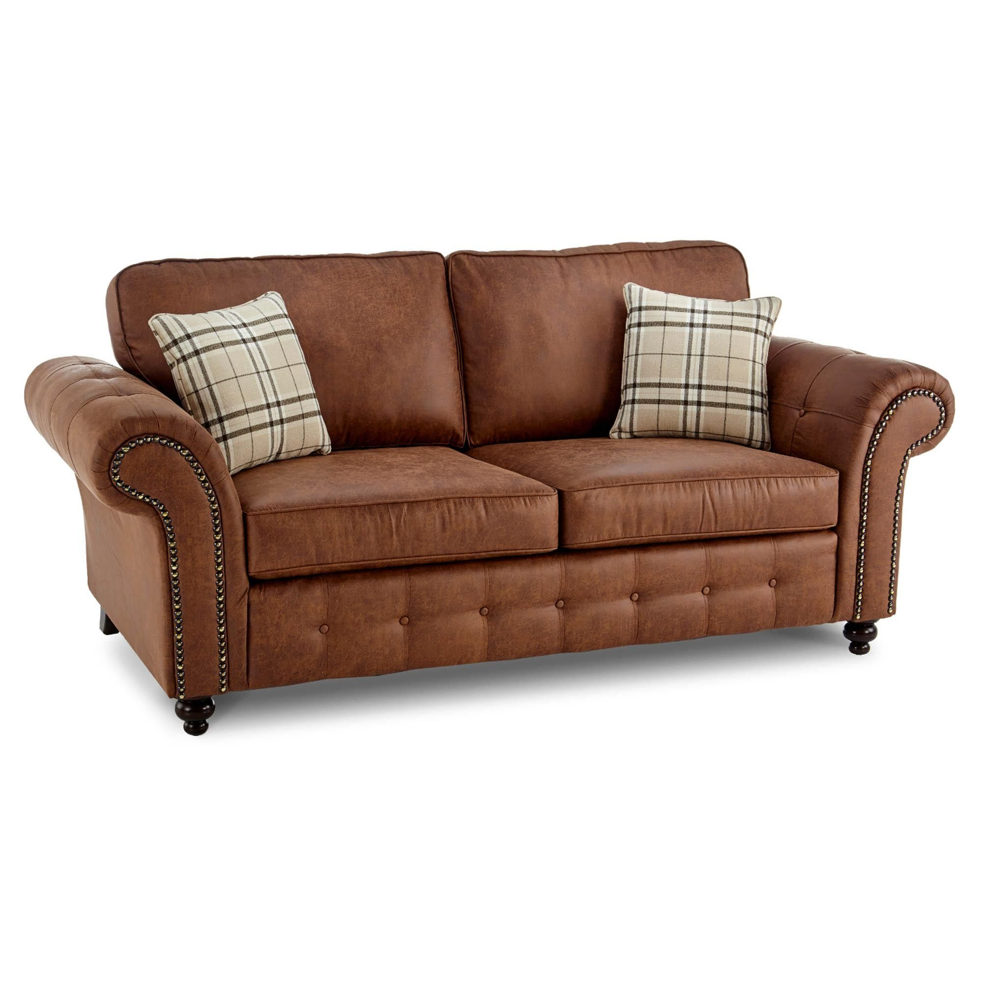 Dunelm Oakland Brown Faux Leather 3 Seater Sofa Best Leather Sofa Leather Sofa Retro Sofa