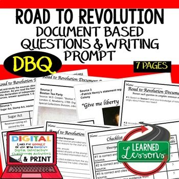 Road to American Revolution DBQ (Document Based Questions ...
