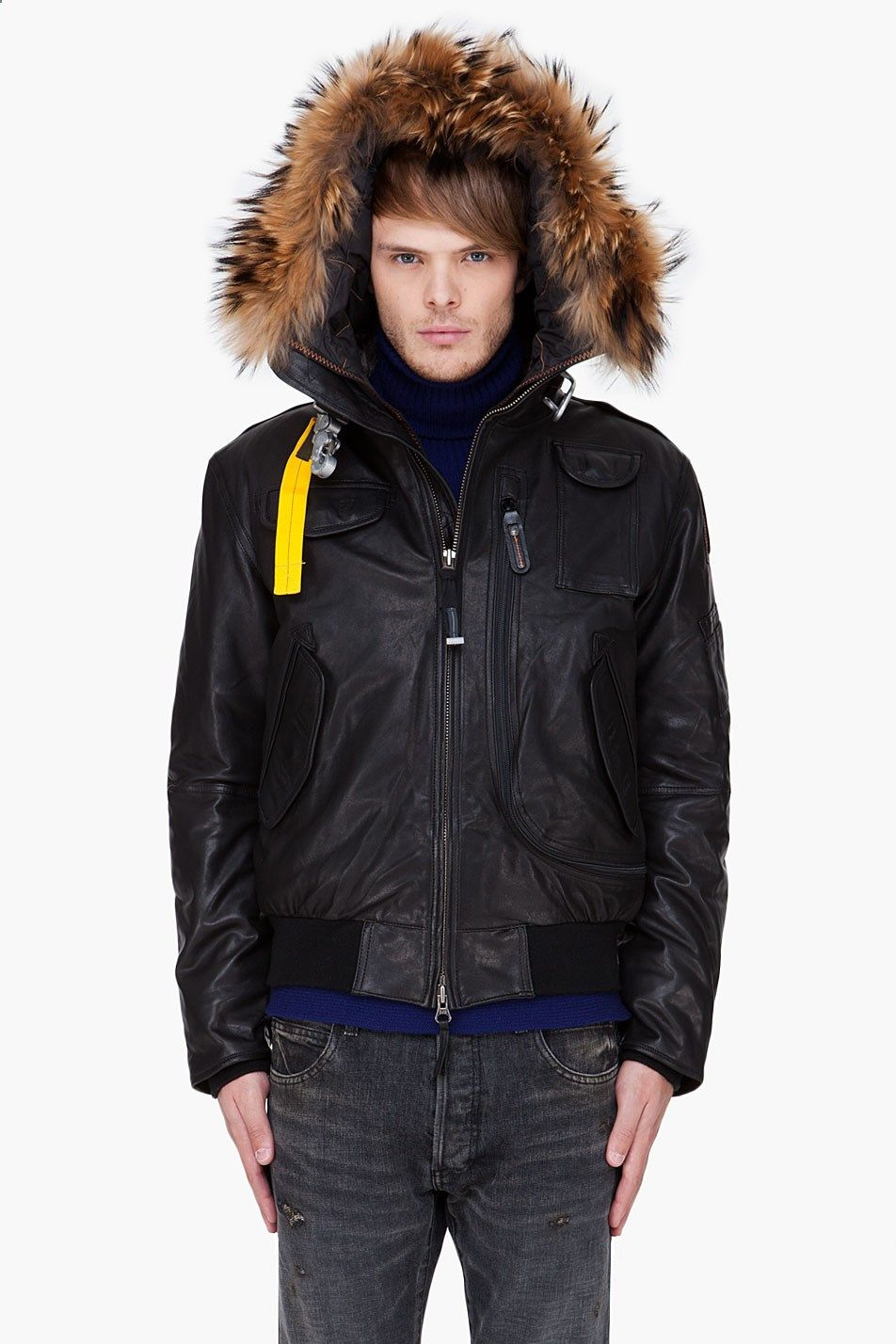 Parajumpers Black Raccoon Fur Trim Leather Gobi Jacket for Men