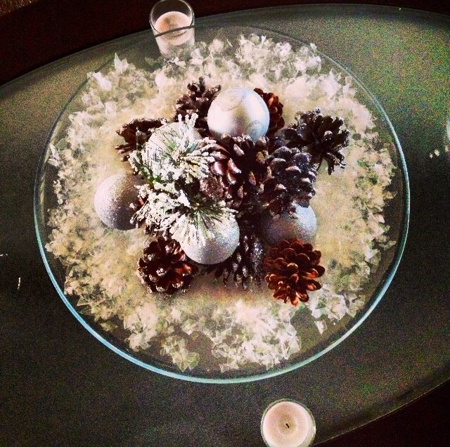 Ornaments and pine cones coated with silver glitter atop a bed of snow! I used a glass display bowl that was already a part of my decor. Easy, cheap. Ornaments came from Dollar Tree. Pine cones (on sale! 3 bucks for a bag) and snow came from Michaels.