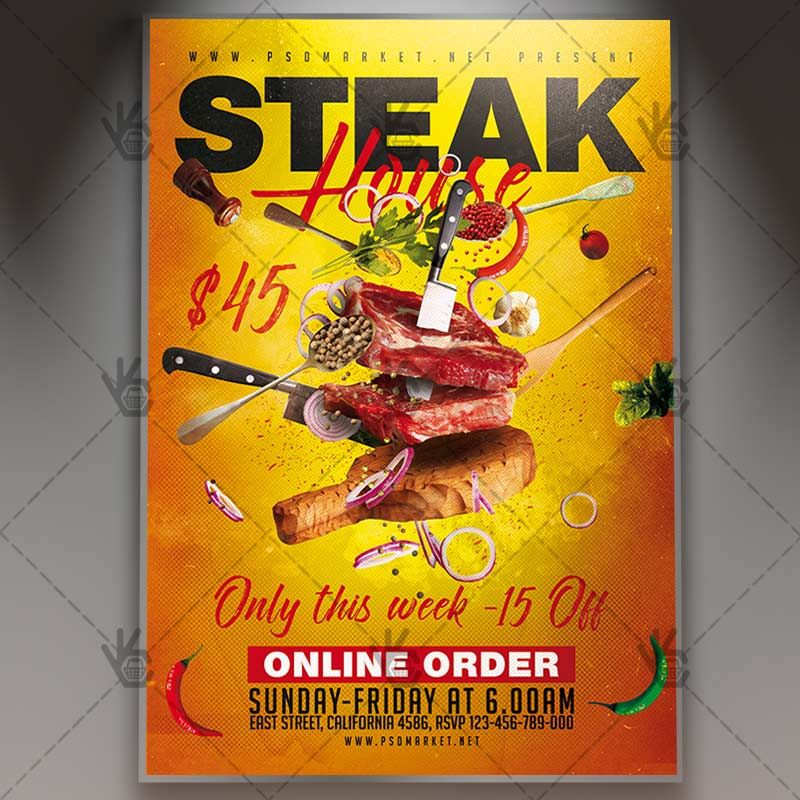 Steak House Food  Restaurant Flyer Psd Template Bar Barbecue