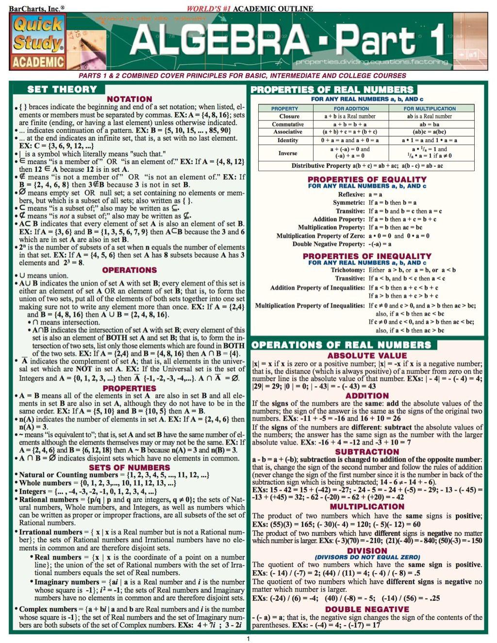 Algebra Part 1 Study Guide Ebook Rental