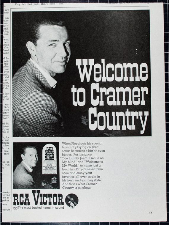 """Vintage 1968 RCA Victor Ad Featuring Floyd Cramer by VintageVirtus Great Madmen-era advertisement from a magazine that would look great in your home, office, or music room. Retro black-and-white ad features country legend Floyd Cramer. Because of its age, there is slight discoloration and edge wear. Measures approximately 7 1/8""""W x 10 1/2""""L. Comes in protective sleeve."""