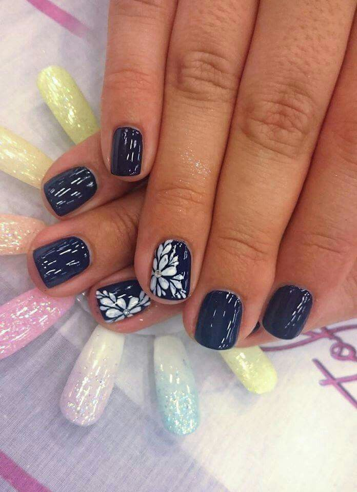 Navy Blue And White Flower