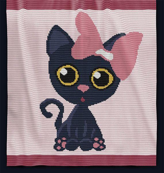 CROCHET Pattern - Baby Blanket Pattern - Meow - Baby Afghan Pattern ...