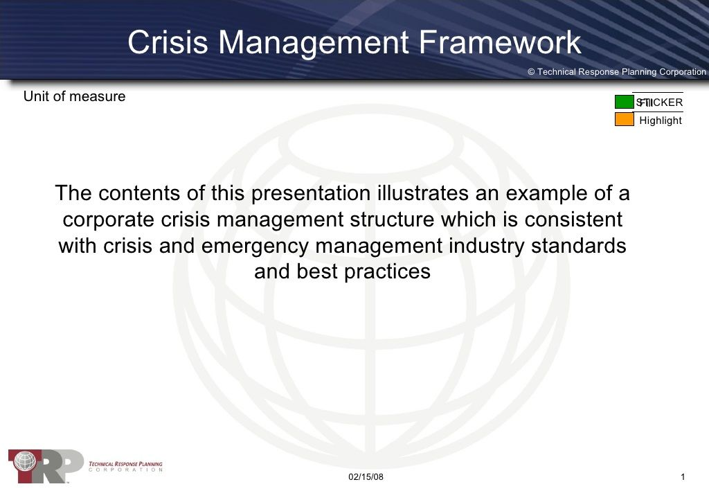 Crisis Management Framework Emergency Planning Resources - emergency response plan template