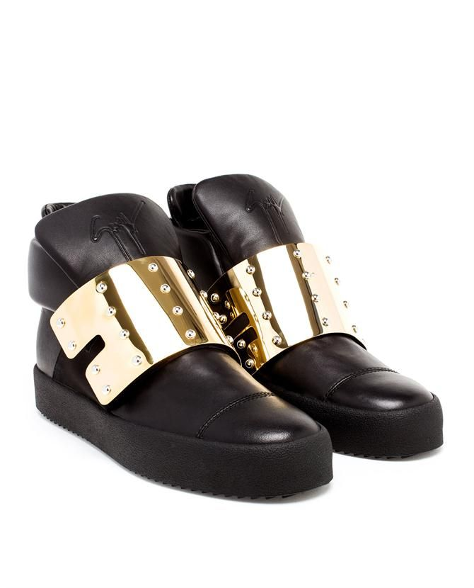 £675.00 The undisputed king of bling Giuseppe Zanotti has merged the worlds of luxury and streetwear by using high quality materials and outlandish designs to make his statement sneakers.