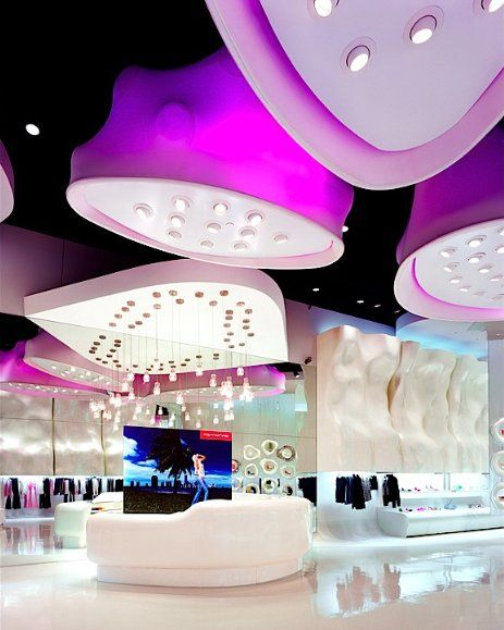 Shaped Drop Ceiling Ideathe White One Fornarina Store In Las Vegas By Retail Interior DesignInterior