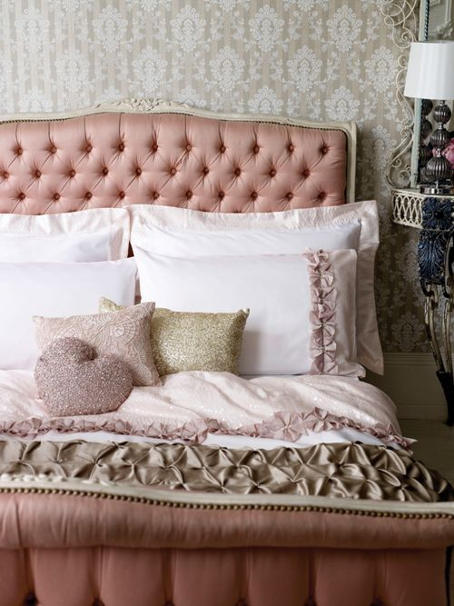 I like the dusty pink with gold accents. #bedroom #pink #gold