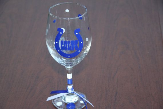 Indianapolis Colts Wine Glass By Gamedaycheers On Etsy