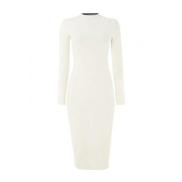 11c0672f83d9 Boa Cream Black Long Sleeve Midi Dress ( 86) ❤ liked on Polyvore featuring  dresses