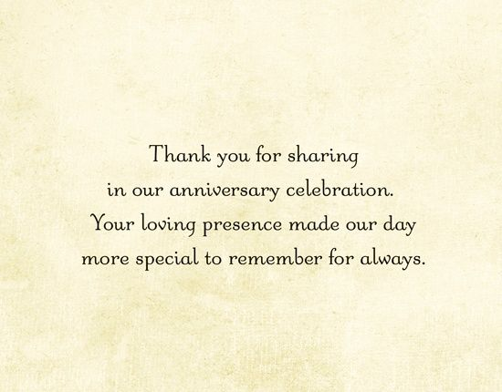 Thanks Message For Wedding Gift : thank you card for anniversary giftGoogle Search 50th Anniversary ...