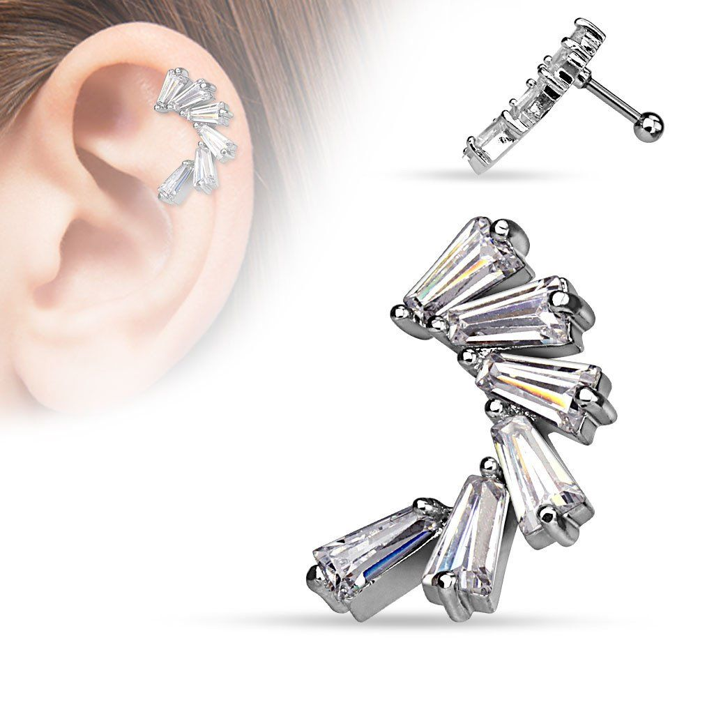 Body piercing areas  CZ Lined Crescent Surgical Steel Cartilage Tragus Helix Barbell Stud