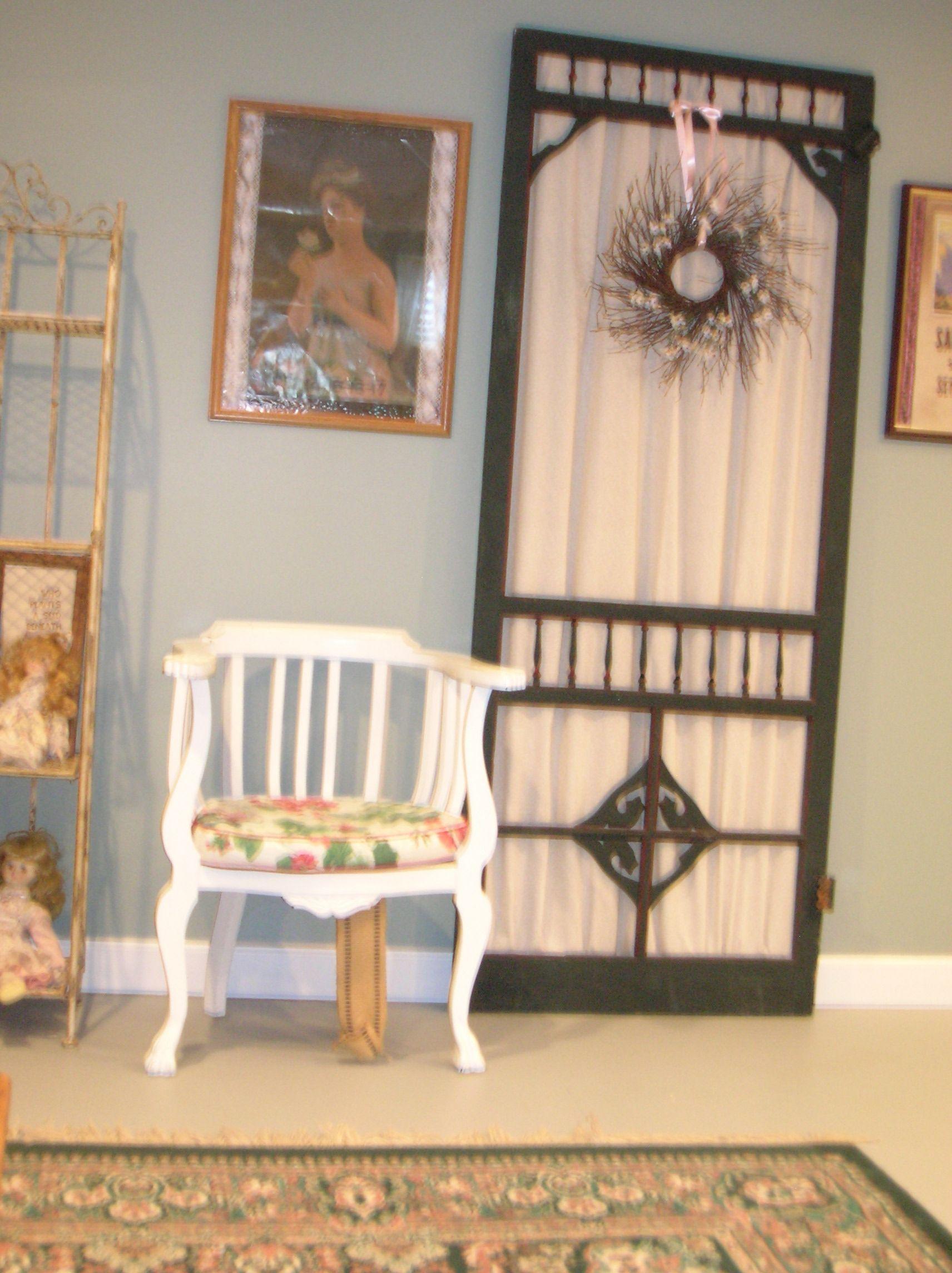 Old Screen Door Painted Yard Sale Chair In My Basement Garden Room