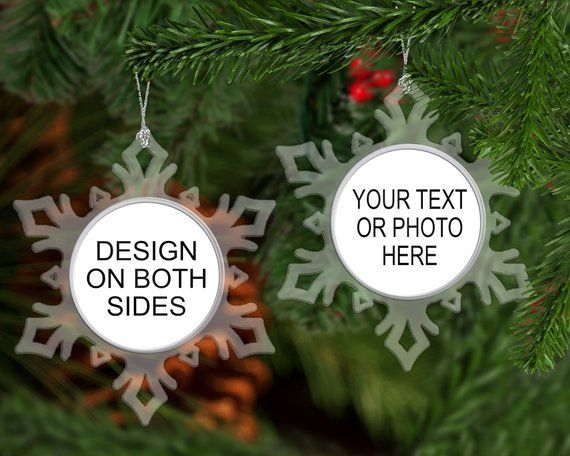 Your design here - double sided acrylic snowflake ornament - 5.75 inch snowflake perfect for first Christmas, photos, family portraits