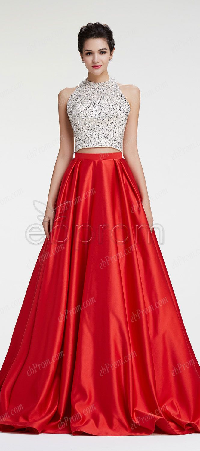 Crystal sparkly two piece ball gown prom dresses long rekha