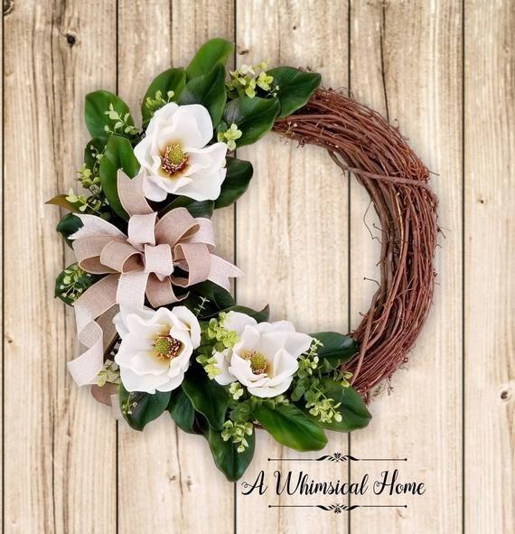 Photo of MAGNOLIA GRAPEVINE WREATH – Magnolia Wreath – Farmhouse Wreath-Magnolia Decor-Southern Wreath-Grapevine Wreath-Fall Wreath-A Whimsical Home