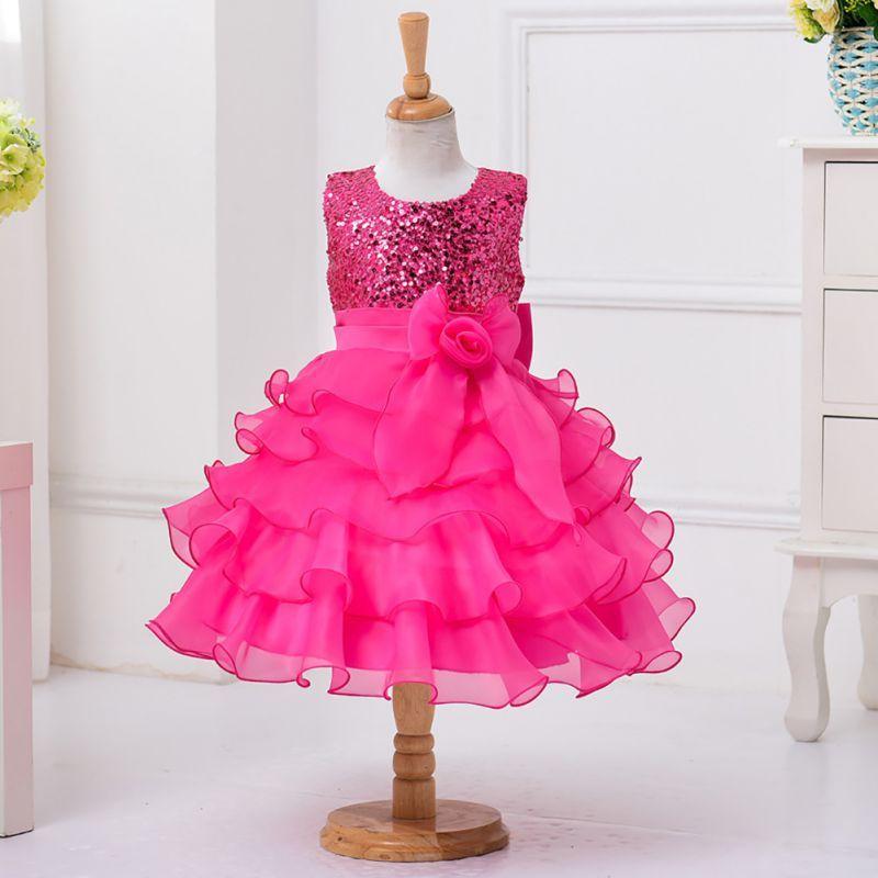 21312663ff64 Summer-Kids-Baby-Girls-Sequin-Flower-Bowknot-Dress-Tutu-Wedding-Party-Dress