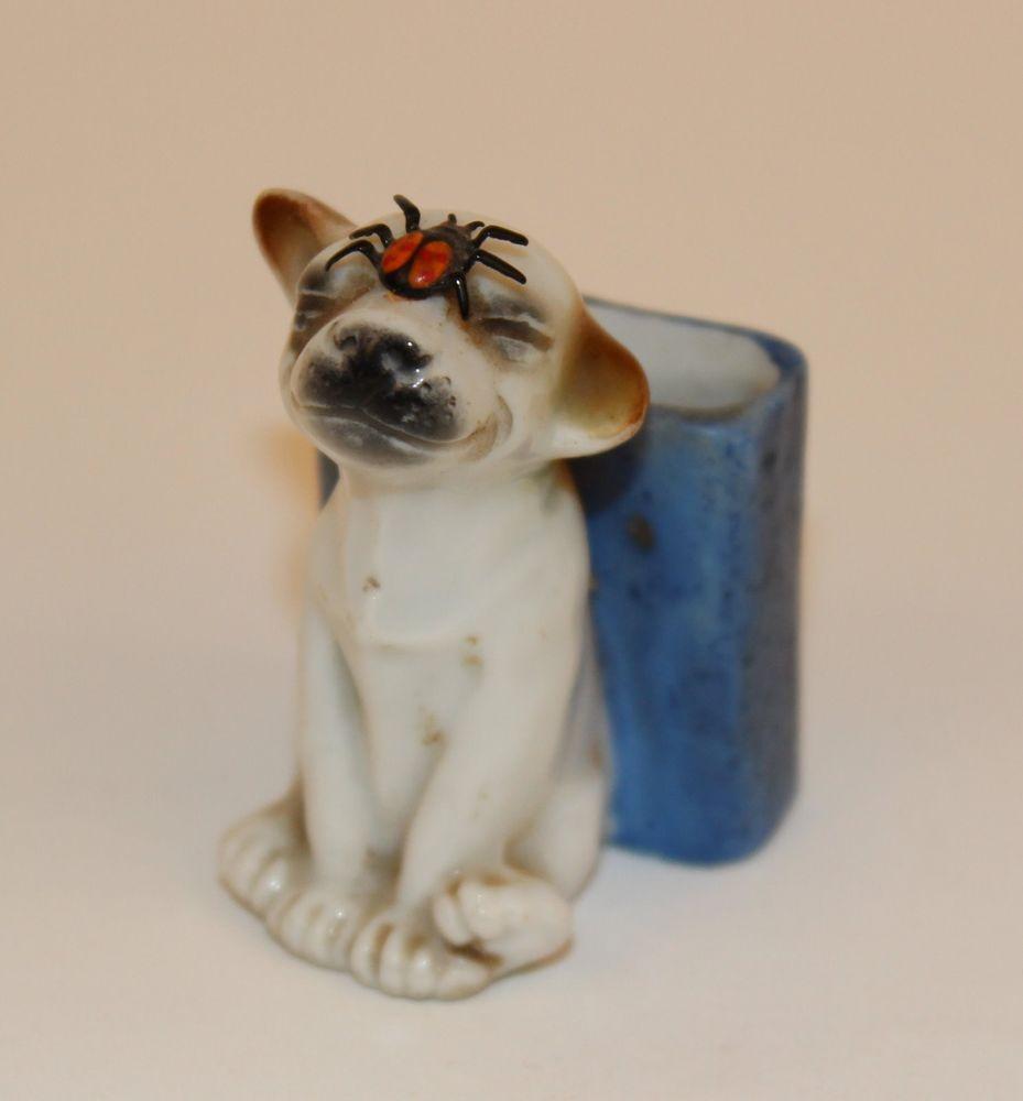 WHIMSICAL GERMAN PORCELAIN DOG  MATCH HOLDER/TOOTHPICK W/ LADYBUG ON FACE