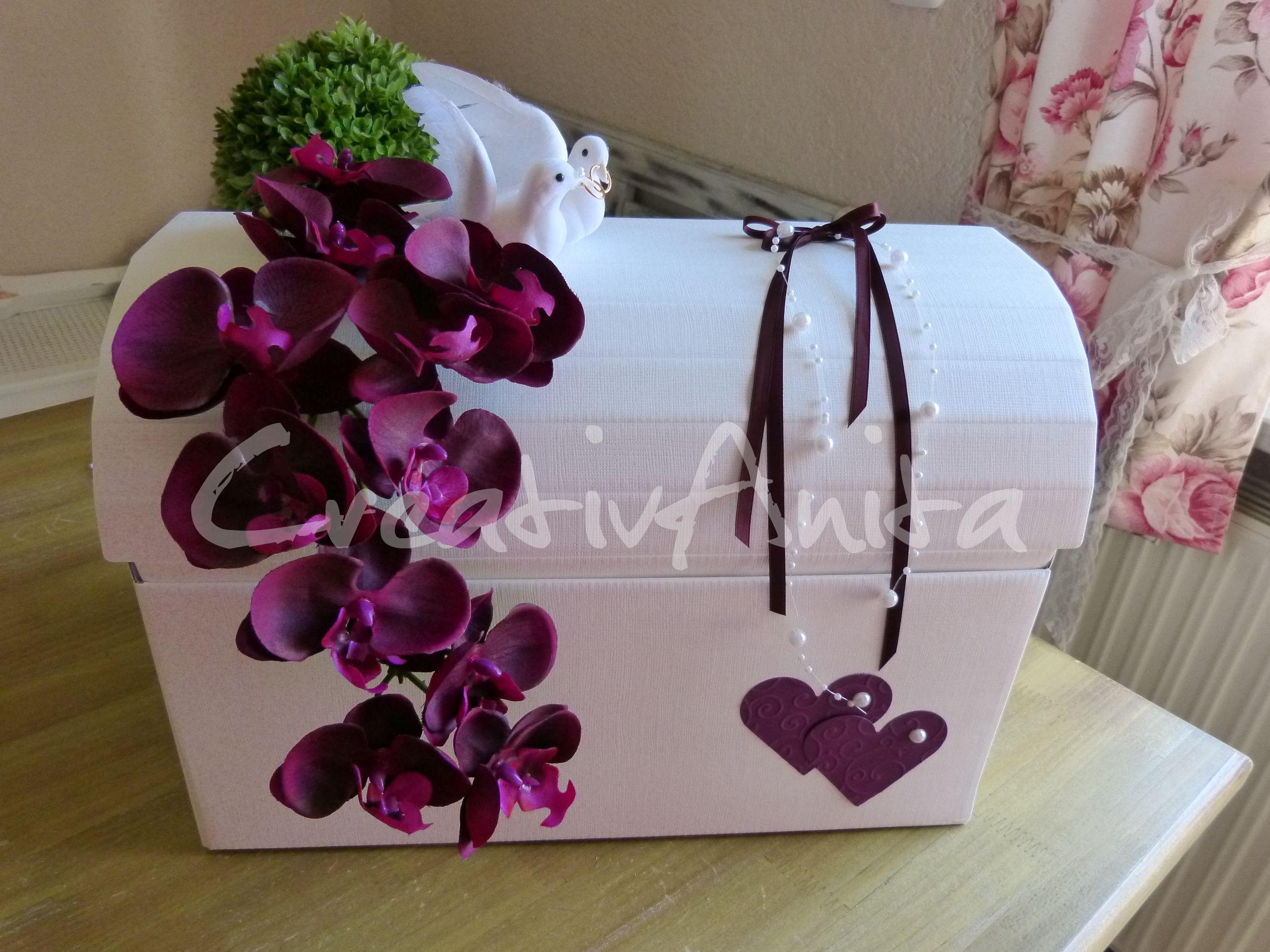 Briefbox Geschenktruhe zur Hochzeit mit edler Orchidee Violett