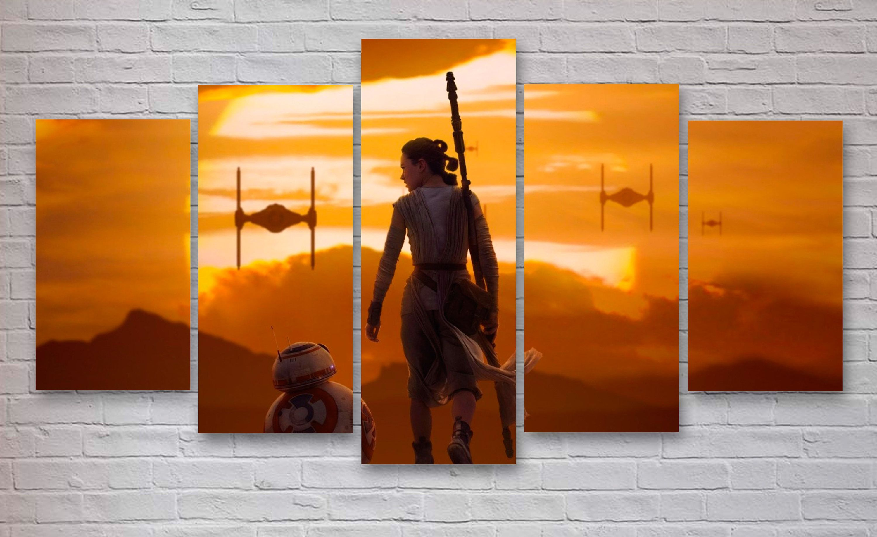 Star Wars Movie 5 Panel Canvas Rey Imperial Fighters Office
