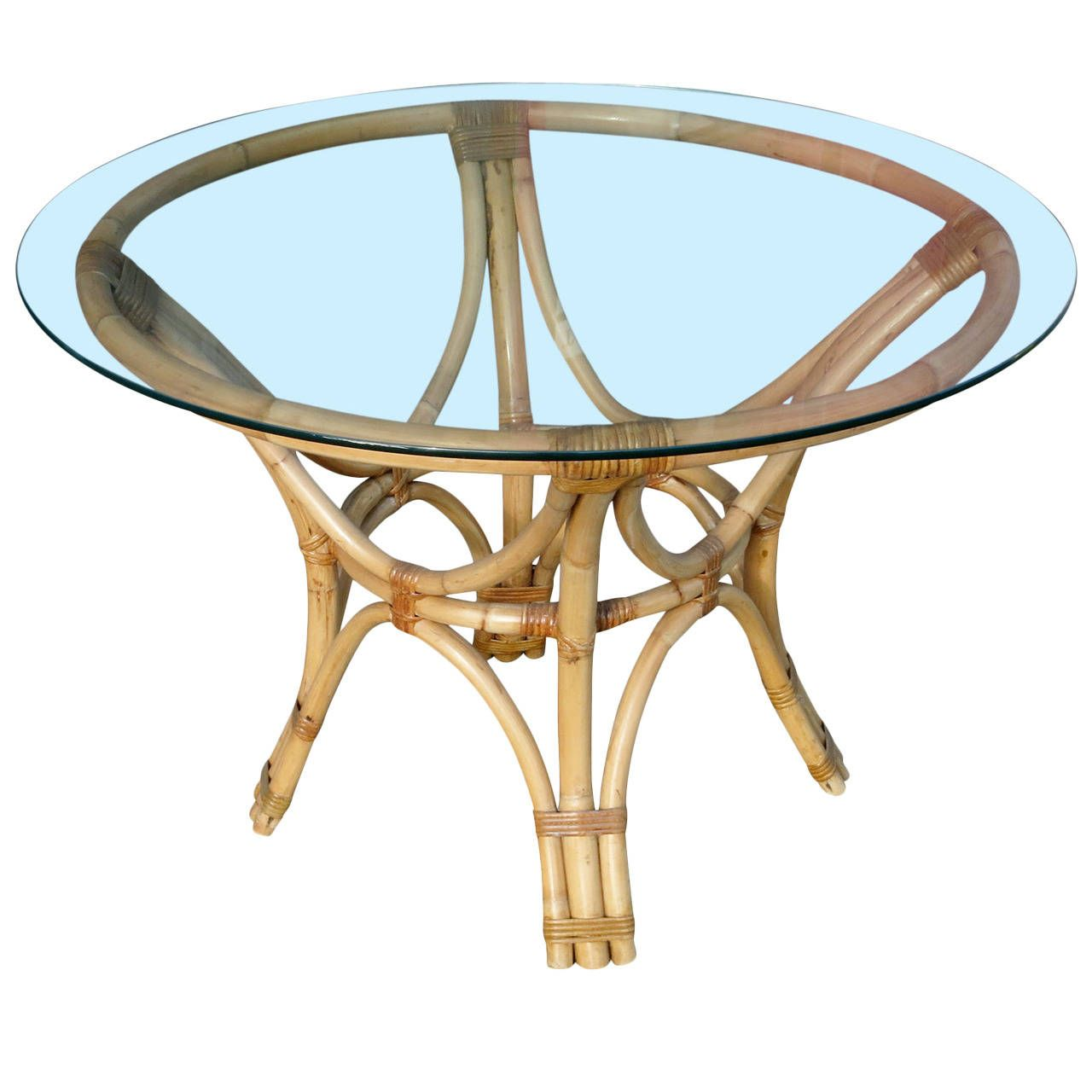 Round Wicker Dining Table: Restored Rattan Bentwood Dining Table With Round Glass Top