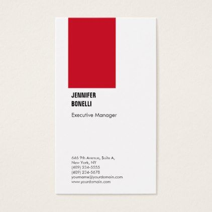 professional plain minimalist modern red white business card