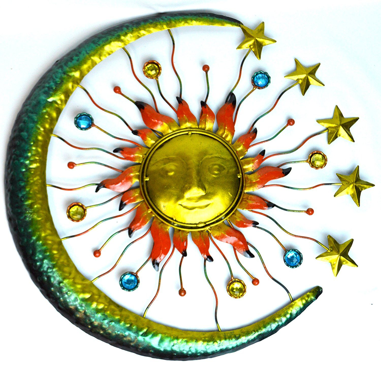 Large Metal Sun Face Star Moon Glass Beads Wall Art Plaque Home ...