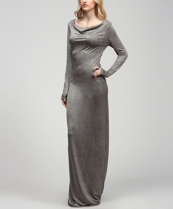 Loving this Brown & Gray Dot Drape Maxi Dress on #zulily! #zulilyfinds