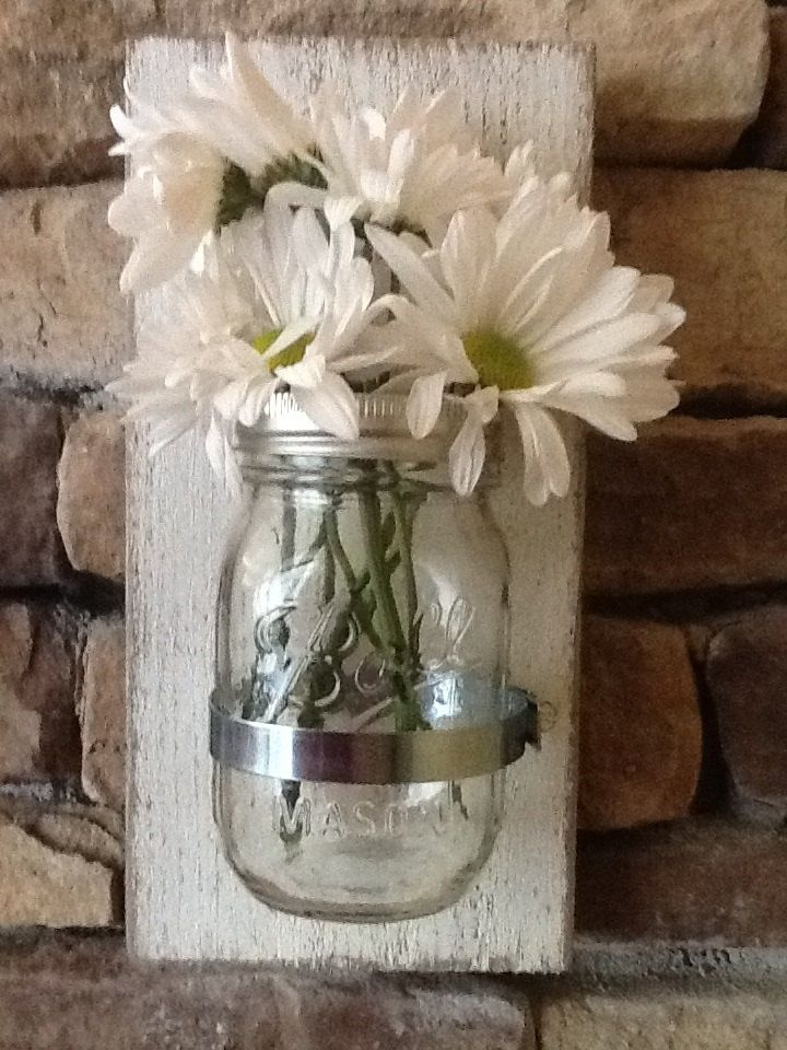 mason jar wall sconce rustic or shabby chic decor for home or office crafty pinterest. Black Bedroom Furniture Sets. Home Design Ideas